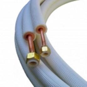 Liaison frigorifique 1/4 5/8-8 ml Bi tube isolé, évasé avec ecrous