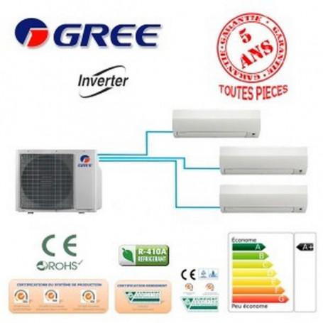 TRI SPLIT GREE GWHD24NK3GO +2 GWH09 +1 GWH12 6000W A+